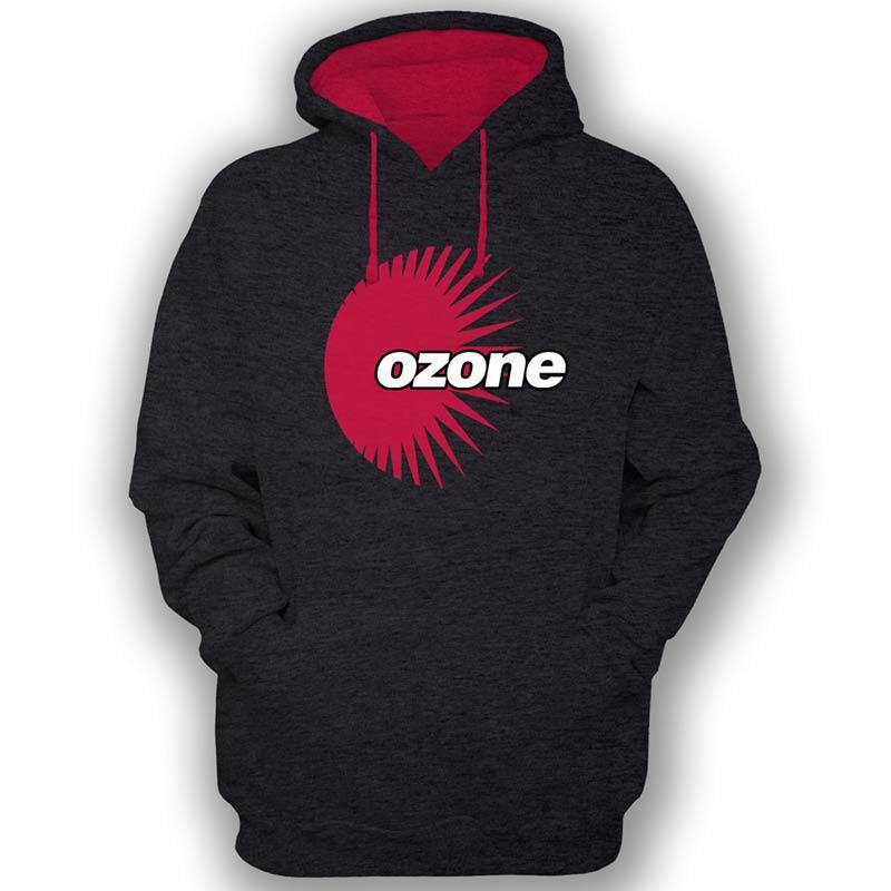Ozone Recordings Hoodie - Black With Red Logo