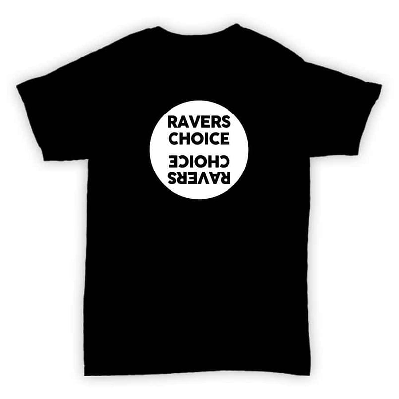 Ravers Choice - Record Label T Shirt - Black With White Design